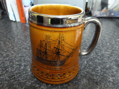 """10345) Lord Nelson Pottery MUG STEIN HMS Victory Historic Ship brown w gilt 4""""H"""