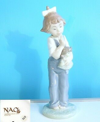 """NAO by LLADRO FIGURE """" HUSH """" YOUNG GIRL WITH DOLL"""