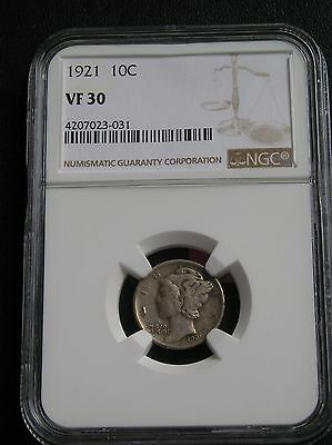 1921-P Mercury Liberty Head Dime, Ngc Vf 30  Graded & Certified, Key Date