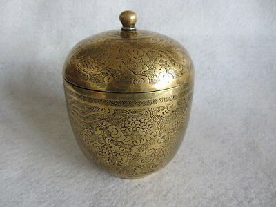 Antique Chinese Brass Chased Engraved Dragon Tea Caddy