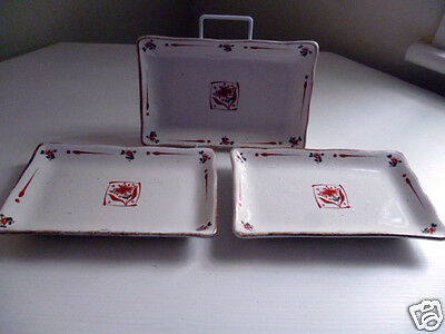 American Art Pottery TRIO DISHES ~ Ideal For Snacks ~ Unused Gift In VGC