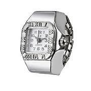 White Dial Classic Bezel Steel Case Elastic Finger Ring Quartz Watch Lady Girl