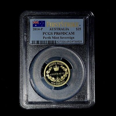 2014-P $25 Australia 'perth Mint Sovereign' Gold Coin Pcgs Pr69Dcam First Strike
