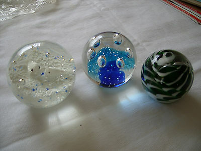 3 Ornamental Glass Paperweights
