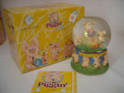 Piggin Happy Birthday Musical Water Globe Original In Box