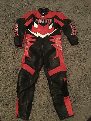 Akito One Piece Leather Motorcycle Suit Size 42 In Good Condition