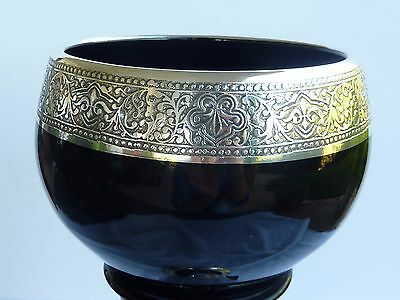 Black Amethyst Pairpoint Sterling Silver Overlay Tall Vase Deco Art Glass