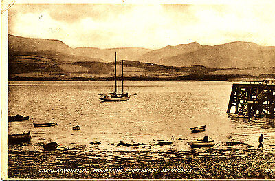 ANGLESEY -1940s Postcard of Beach & Jetty, Beaumaris.(Posted locally)