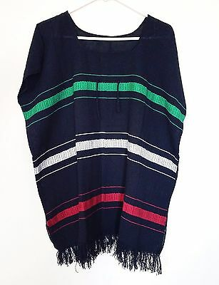 Mexican Women's Blouse Black Huipil Embroidered Bohemian Frida Kahlo Style Sz XL