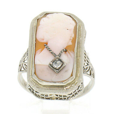 Antique Art Deco 14k Solid White Gold Filigree Cameo Ring with Diamond Accent
