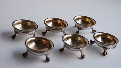 Set of 6 Antique Silverplate Salt & Pepper Cellars, three footed