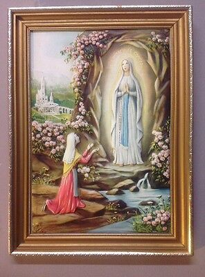 Vintage Our Lady of Lourdes picture - 29 X 39cm