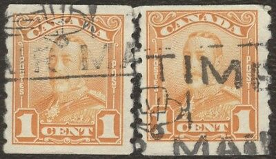 Stamp Canada # 160, 1¢, 1929, lot of 2 used coil stamps.