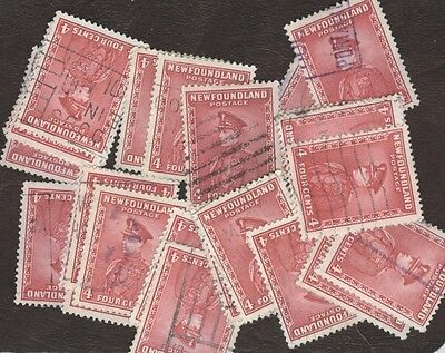 Stamps Canada, 189, 4¢, Newfoundland ,  lot of 25 used stamps.