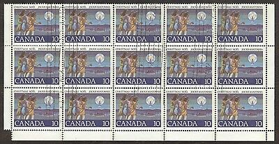 Stamp Canada, # 743, 25¢, 1977, 1 block of 15 used stamps.