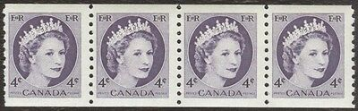 Stamp Canada # 347, 4¢, 1954, 1 coil strip of 4 MNH stamps.