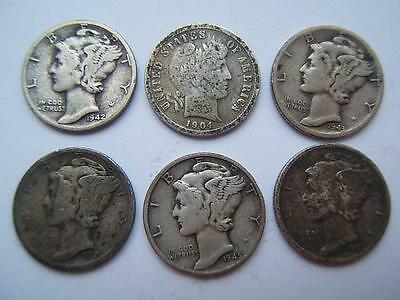 6 x USA ONE DIME coins 1904,1920,1941,1942,1943,1945. overall good