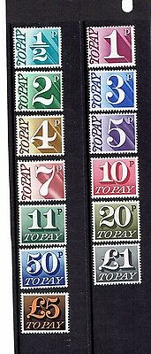 GB 1970-75 SG D77 to D89 Postage Due, To Pay, set of 13. UnMounted Mint.
