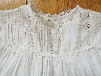 Vintage/antique Very long Christening Gown with embroidered hem and lace trim
