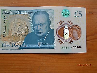 Bank Of England Five Pound Note Serial Number Aa44 New Polymer £5 Note
