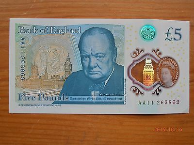 Bank Of England Five Pound Note Serial Number Aa11 New Polymer £5 Note