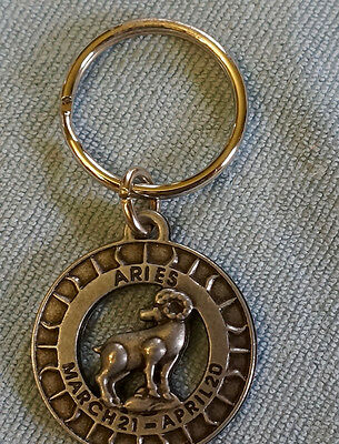 Pewter Keychain; Aries Horoscope; 1.5 in. Nice Quality !!!