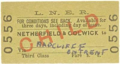 LNER Ticket Netherfield to Radcliffe on Trent