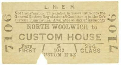 LNER Ticket North Woolwich to Custom House