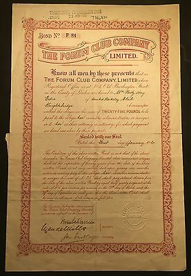 The Forum Club Company  Share Certificate