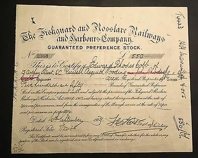 The Fishguard Rosslare Railways and Starbonrs Company  Share Certificate