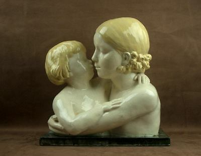 Superb Importante Sculpture Maternite Ceramique Craquele Art Deco Richard Fath