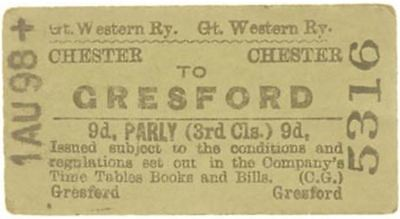 Great Western Railway Ticket Chester to Gresford
