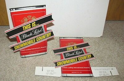 """Black label beer  1971 """"THIS IS.... SNOWMOBILE COUNTRY"""" display sign (2) MINTY!"""