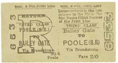 Somerset & Dorset Joint Line Railway Ticket Bailey Gate to Poole (S.R.)