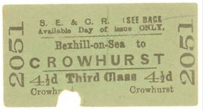 S.E.& C.Railway Ticket Bexhill-on-Sea to Crowhurst