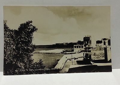 Vintage Real Photograph Malta Postcard St Paul's Bay, Il-Gillieru