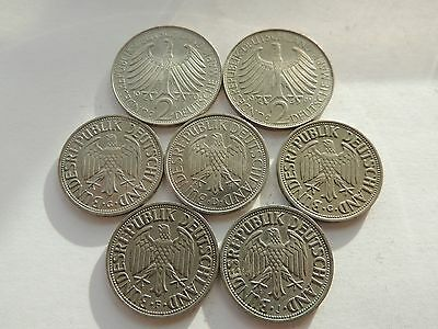 7 GERMAN / GERMANY COINS - 1 & 2 MARK COINS Ref 179