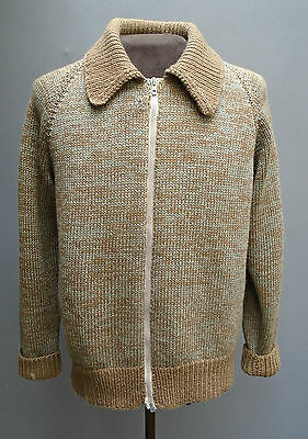 Vtg 1940s 50s Hand Knitted Wool Zip Cardigan Sweater Green Brown Marl Darned M L