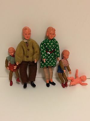 Vintage Dolls House Family 50s Fifties Mum Dad Children X 3 Inc Baby