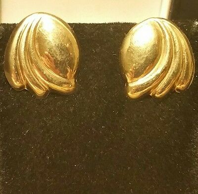 Novelty Vintage Art-Deco Style 9CT Yellow Gold Designer Wing Clip-On Earrings 3g
