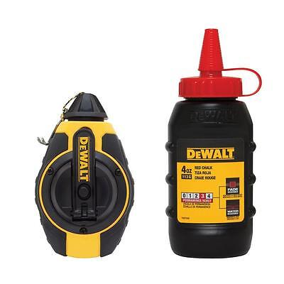 DEWALT 100 ft. Chalk Reel with Red Chalk 1/4 turn cap for secure fit DWHT47374L