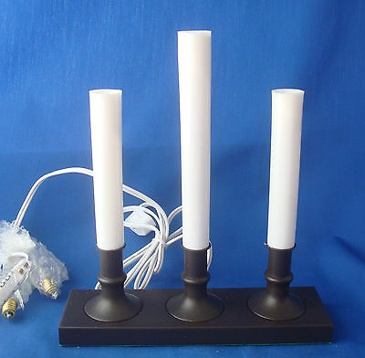 3 Christmas candolier window candles electric on bronze weighted base