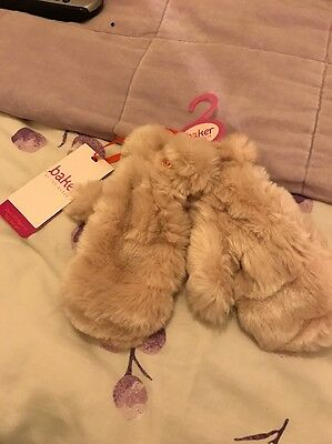 Girls Ted Baker Faux Fur Mittens Bnwt