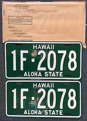 1961 Green Hawaii Automobile License Lo number Mint Set #1F-2078