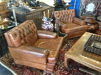 Surprising Very Rare 1920S French Art Deco Button Tufted Leather Club Ocoug Best Dining Table And Chair Ideas Images Ocougorg