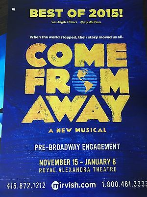COME FROM AWAY PRE BROADWAY MUSICAL NEWFOUNDLAND Rare Sign Marquee  Poster