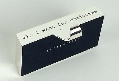 Pottery Barn Silver Engraved Christmas Stocking Holder Hanger All I want Holiday