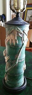 Chinese Antique Pottery Brush Pot Lamp.Conversion Oriental Faux Bamboo Vase