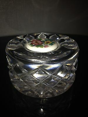 Vintage Lead Crystal Paperweight With Floral Porcelain Centre