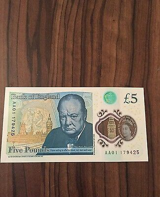 RARE Brand New AA01 £5 Note. Uncirculated New